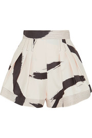 Zimmermann Pleated printed silk shorts
