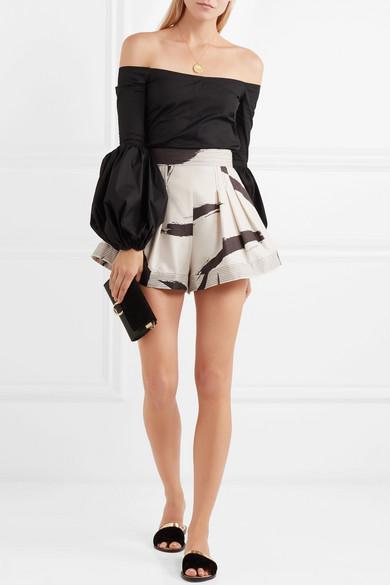 Zimmermann Bedruckte Shorts aus Seide mit Falten