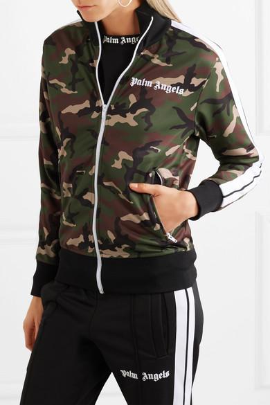 Palm Angels Trainingsjacke aus glänzendem Jersey mit Camouflage-Print und Streifen