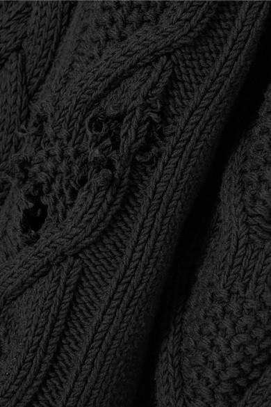 Palm Angels Zopfstrickpullover aus einer Baumwollmischung in Distressed-Optik