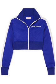 Palm Angels Cropped striped satin-jersey track jacket