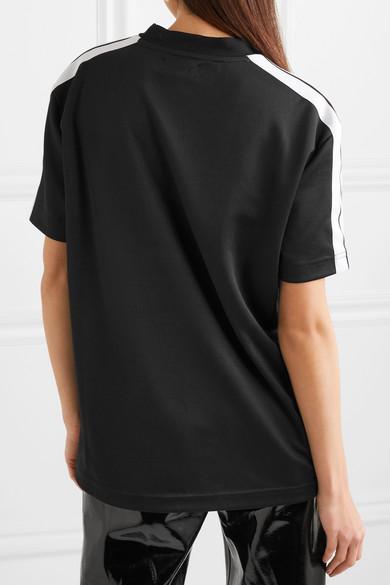 Palm Angels Gestreiftes T-Shirt aus glänzendem Jersey
