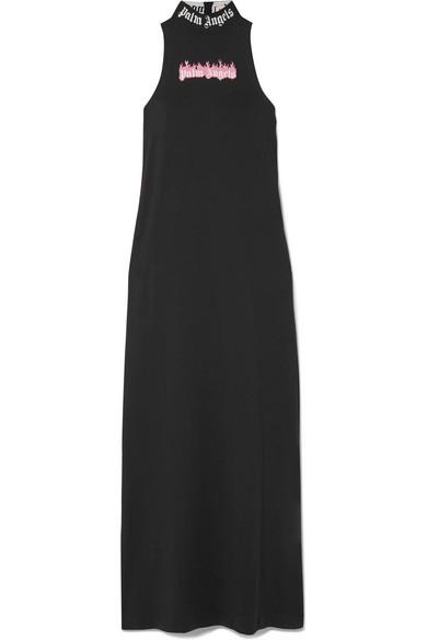 Palm Angels Bedrucktes Kleid aus Stretch-Baumwoll-Jersey
