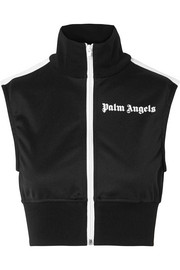 Palm Angels Cropped striped satin-jersey top
