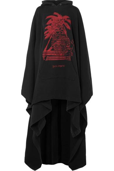 Palm Angels Bedrucktes Oversized-Cape aus Baumwollfrottee mit Kapuze