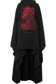 Oversized printed cotton-terry hooded cape