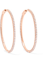 Fonda 18-karat rose gold diamond hoop earrings