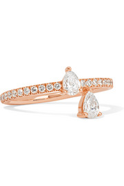 Princess 18-karat rose gold diamond ring