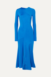 Paneled stretch-jersey midi dress