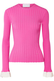 Two-tone ribbed knit top