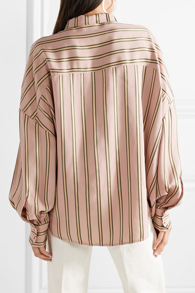 Esteban Cortazar Volume Oversized-shirt Of Striped Satin