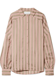 Volume oversized striped satin shirt