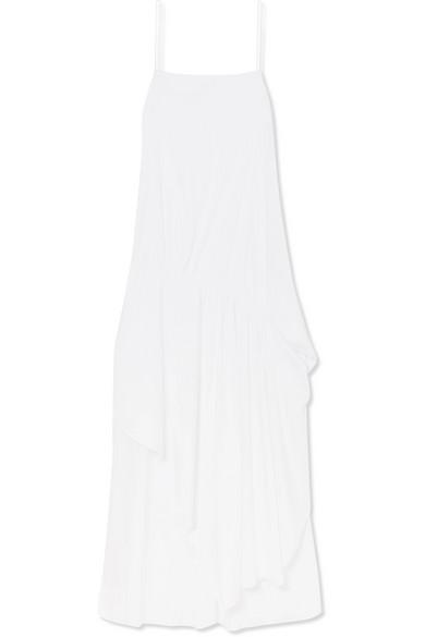 Esteban Cortazar Asymmetrisches Popelinekleid aus einer Baumwollmischung mit Raffungen