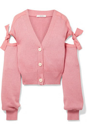 Tie-detailed cotton-blend cardigan
