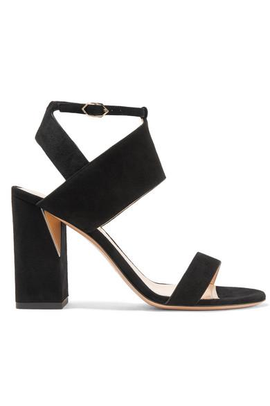 NICHOLAS KIRKWOOD Eva Mirror-Trimmed Suede Sandals in Black