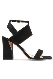 Eva mirror-trimmed suede sandals