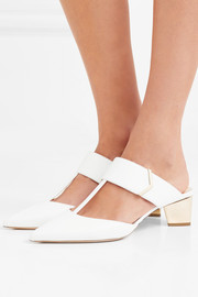 Prism cutout leather mules
