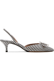 Bells crystal-embellished striped canvas slingback pumps