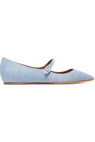 Tabitha Simmons Hermione flache Schuhe mit spitzer Kappe aus Denim
