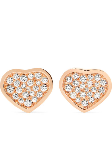 Chopard - Happy Hearts 18-karat Rose Gold Diamond Earrings