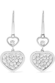 Happy Hearts 18-karat white gold diamond earrings