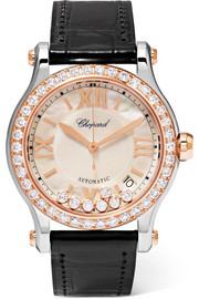 Chopard Happy Sport 36 alligator, 18-karat rose gold, stainless steel and diamond watch