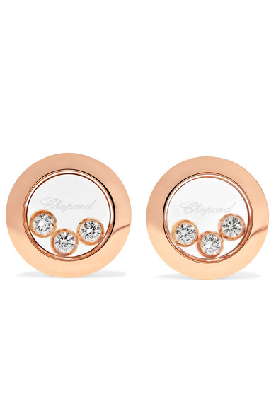 Chopard - Happy Diamonds 18-karat Rose Gold Diamond Earrings