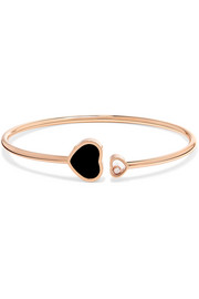 Happy Hearts 18-karat rose gold, diamond and onyx cuff