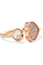 Chopard Happy Hearts 18-karat rose gold diamond ring