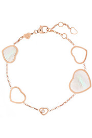 Chopard Happy Hearts 18-karat rose gold, diamond and mother-of-pearl bracelet