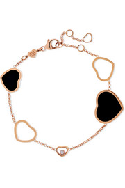 Happy Hearts 18-karat rose gold, diamond and onyx bracelet