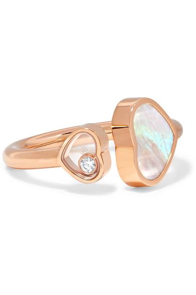célèbre marque de designer remise pour vente Vente de liquidation 2019 Bague en or rose 18 carats, diamant et nacre Happy Hearts