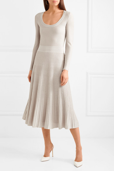 Metallic Ribbed-knit Midi Dress - Gray Barbara Casasola GqvEfuAA0