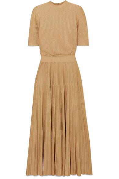 CASASOLA Kleid aus geripptem Stretch-Strick mit Metallic-Effekt