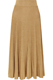 Metallic ribbed-knit midi skirt