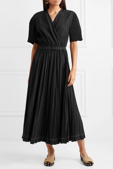 CASASOLA Kleid aus plissiertem Chiffon in Wickeloptik