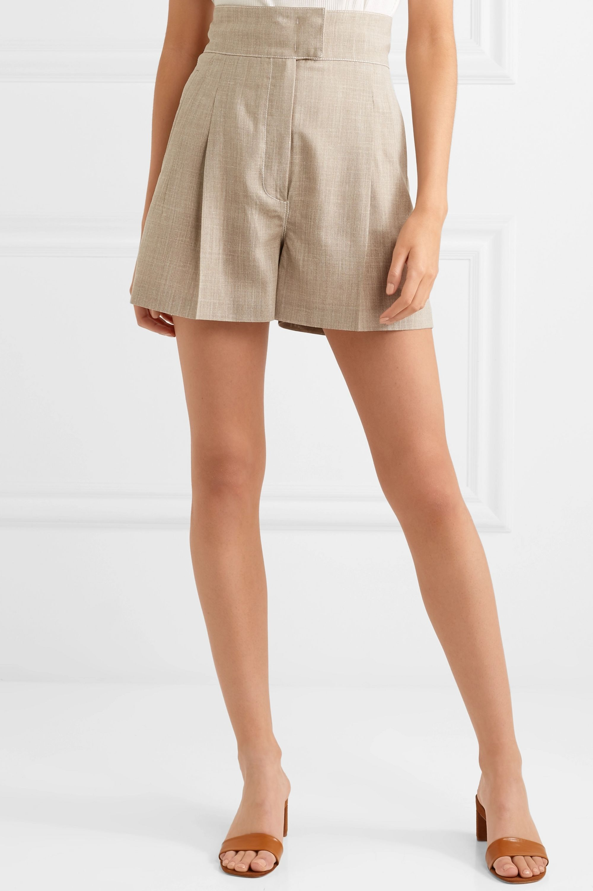 CASASOLA Pleated wool-blend shorts