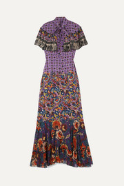 Printed silk crepe de chine and georgette maxi dress
