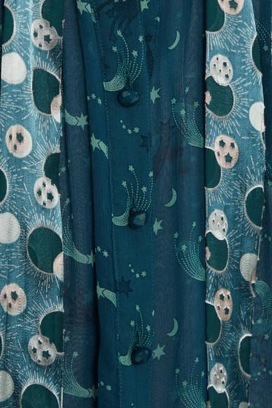 Anna Sui Cosmos Schluppenbluse aus bedrucktem Chiffon in Knitteroptik