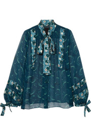 Anna Sui Cosmos pussy-bow printed crinkled-chiffon blouse