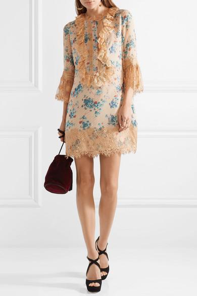 Anna Sui Decoupage Minikleid aus einer Seidenmischung mit Fil Coupé und Spitzenbesatz