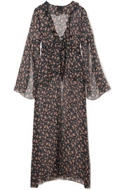 Lilies of the Valley printed silk-chiffon robe