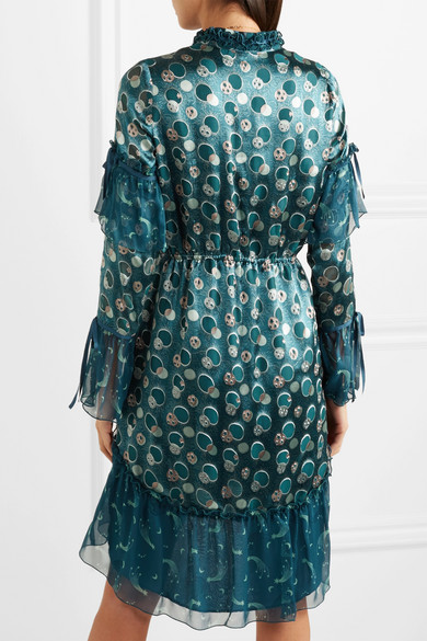 Anna Sui Cosmos bedrucktes Kleid aus Sateen mit Fil Coupé und Seidenchiffon in Knitteroptik
