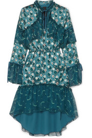 Anna Sui Cosmos printed fil coupé sateen and crinkled silk-chiffon dress