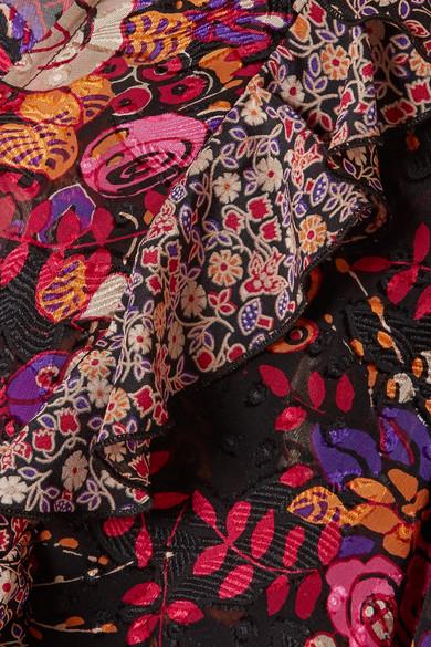 Anna Sui Butterflies and Bells Bluse aus Seiden-Jacquard mit Rüschen