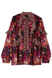 Butterflies and Bells ruffled printed silk-jacquard blouse