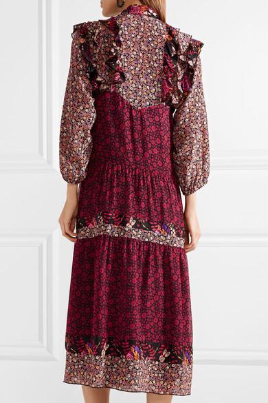 Anna Sui Butterflies and Bells Kleid aus bedrucktem Seiden-Jacquard mit Rüschen
