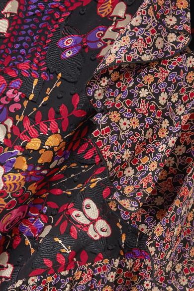 Anna Sui Butterflies and Bells asymmetrischer Midirock aus Seiden-Jacquard