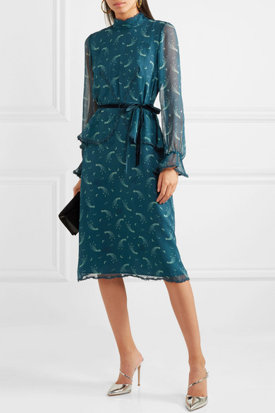 Anna Sui Starburst Dress In Printed Silk Mousseline In Wrinkle Optics