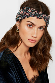 Lilies Of The Valley knotted floral-print silk-chiffon headband